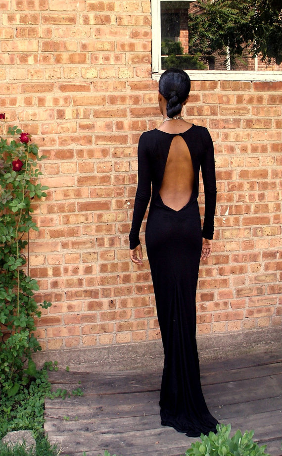 Black Backless Full Length Gown, Black Prom Dress, Black Formal ...