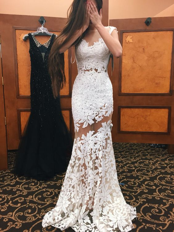 a615cc81c1 Sexy Lace Prom Dress, White Lace Prom Dress, Senior Prom Dresses, Mermaid  Prom