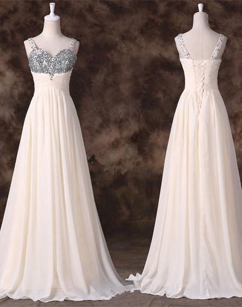 Top Selling Elegant Chiffon Long Prom Dresses,With Straps,Back Up Lace Prom Dresses,Pretty Prom Gowns For Teens,Women Dresses