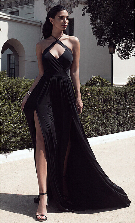 2016 Sexy Halter Neck Black Prom Dresses Ruched Side Slits Open Back ...