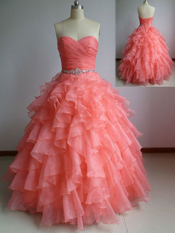 Beautiful Coral Ball Gown Sweetheart Prom Dresses With Beadings ...