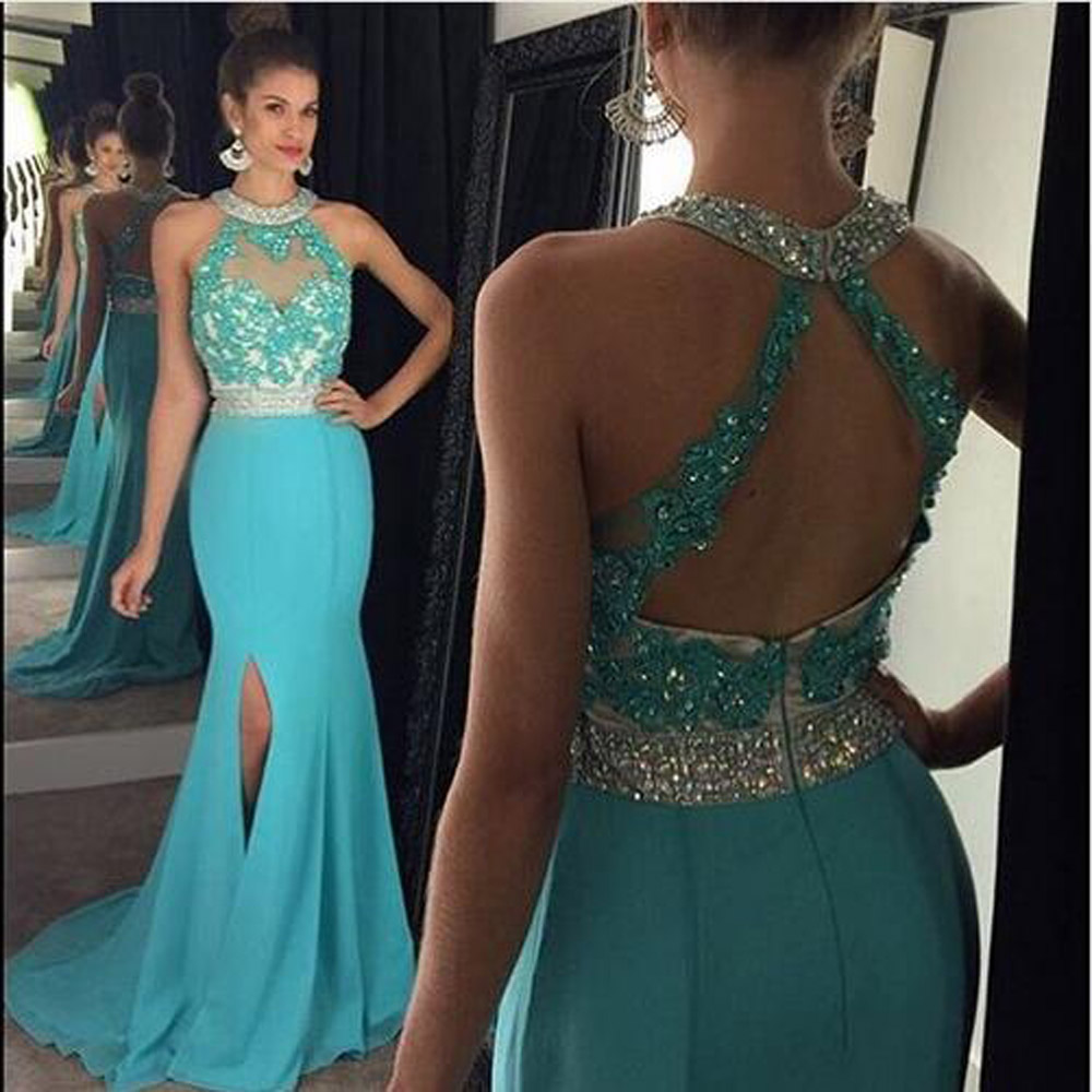09b65a4dff53 New Arrival Long Prom Dress, Turquoise Prom Dress, Mermaid Prom Dress, Open  Back Prom Dress, Lace Applique Prom Dresses, Side Slit Prom Dresses, Chiffon  ...
