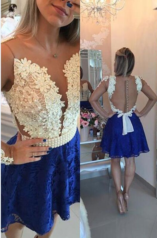 02815c3573b7 Cute Short Homecoming Dress, Royal Blue Lace Homecoming Dress, Homecoming  Prom Dress, Short Prom Dress, Lace Homecoming Dress, Beaded Homecoming Gowns,  ...