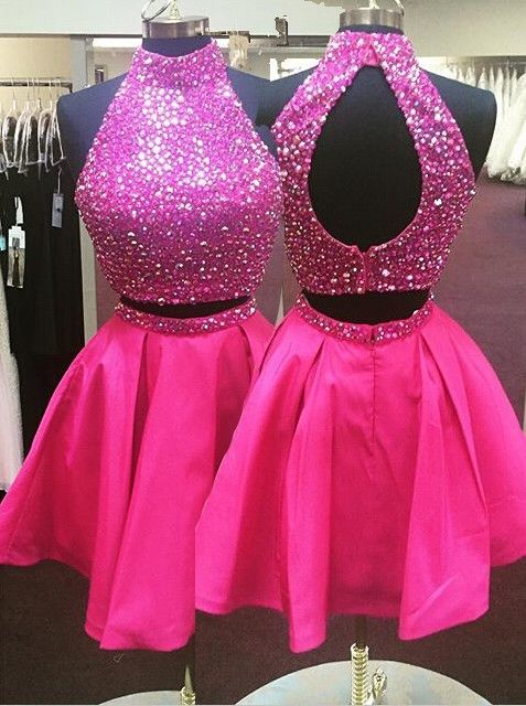 202b8101a73 Hot-selling A-line Two-piece Hot Pink Short Homecoming Dress