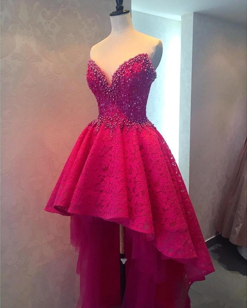 fea6135bfcc Sexy High Low Long Prom Dresses, Beaded Lace Prom Dresses, Sweetheart Prom  Dresses, Fuchsia Backless Women Formal Party Dresses, Custom Made Prom Dress