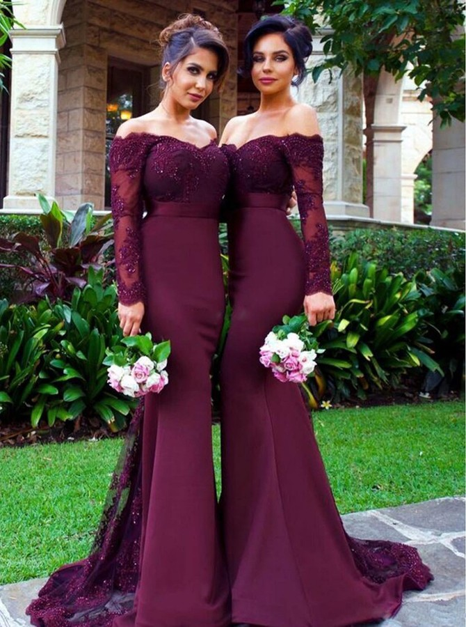 New Arrival Off The Shoulder Wine Red Trumpetmermaid Bridesmaid