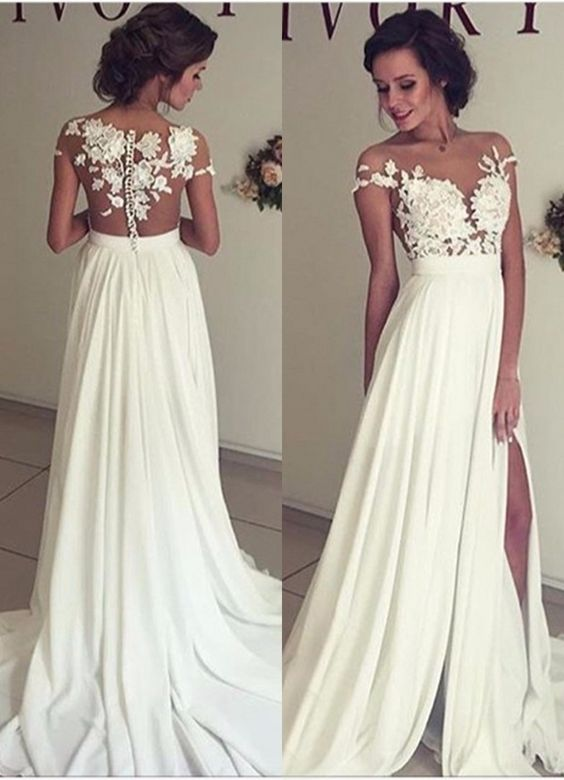 a351ec4fb540 Summer Beach Chiffon Wedding Dresses, Lace and Chiffon Wedding Dress, A-line  Wedding Dresses, Charming Prom Dresses, Lace Top Short Sleeves Side Slit  Garden ...