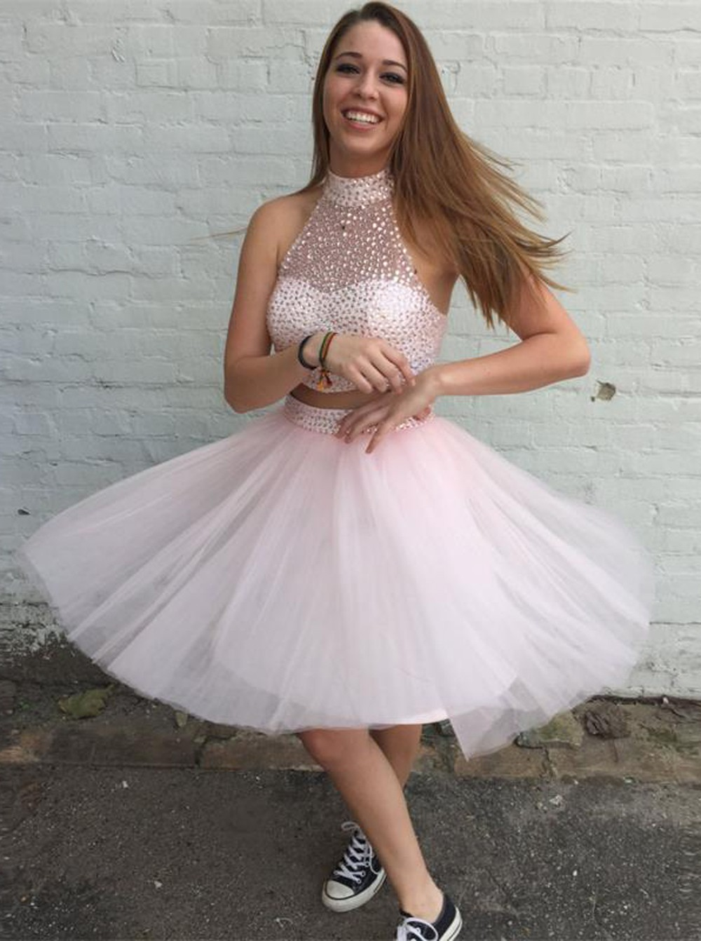 f46295109b9 High Neck Above-knee Tulle Beaded Pink Prom Homecoming Dress