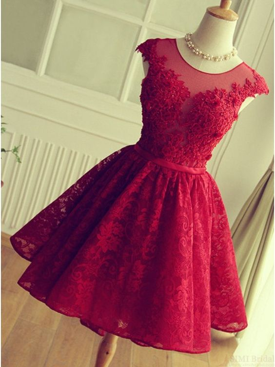 a0268c33306 Adorable Knee-length Red Short Lace Prom Dress