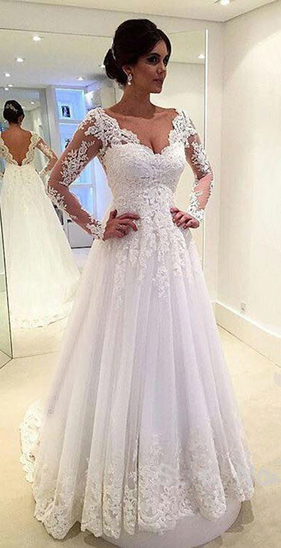 Open Back Floor Length Bridal Gowns Long Sleeves Lace Beach Wedding