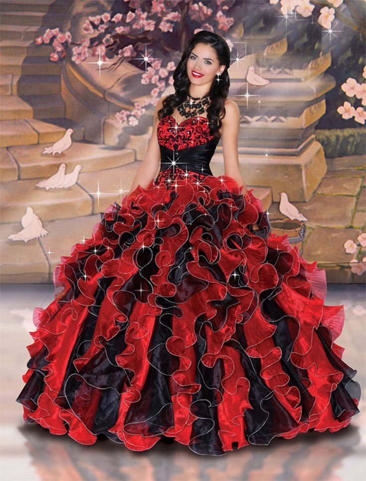 Classic Red And Black Quinceanera Dress,High Quality Embroidery Ball ...