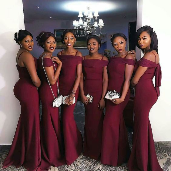 Dark Red Mermaid Bridesmaid Dresses Y Prom Dress Wedding Party