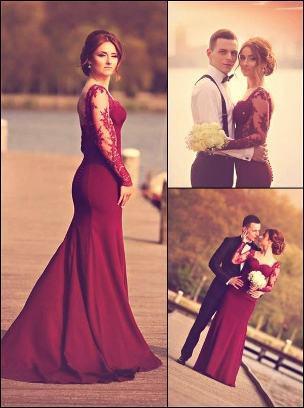 Elegant Prom Dress Burgundy Evening Dress Long Mermaid Prom Dress