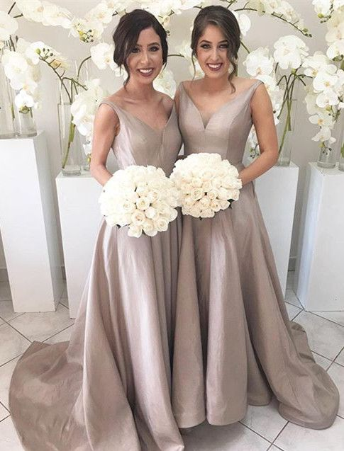 Simple V Neck Sleeveless Hi Low Sweep Train Silver Bridesmaid Dress Long Bridesmaids Dresses Party Elegant