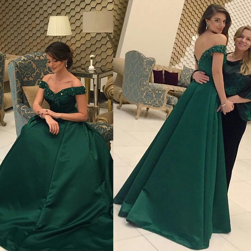 41c7a3f9da63 Green Off Shoulder Evening Formal Dress