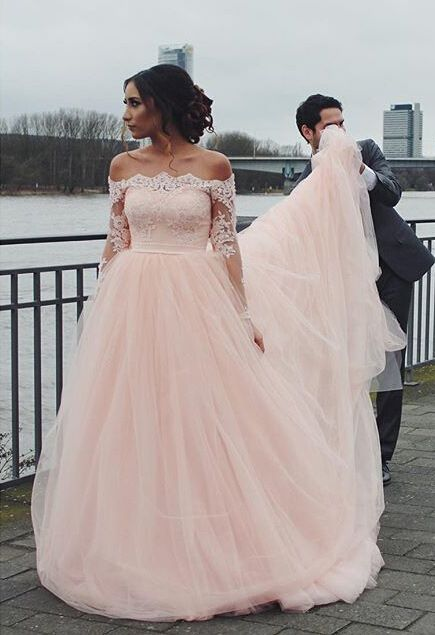 Off the shoulder wedding gown blush pink wedding dress tulle off the shoulder wedding gown blush pink wedding dress tulle wedding dresses long wedding dresses wedding dresses 2016 2016 wedding dresses junglespirit Images