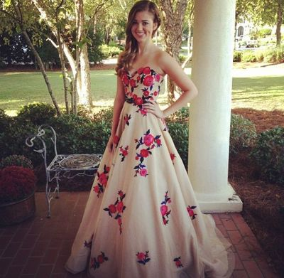 Gorgeous Strapless A-line Long Floral Prom
