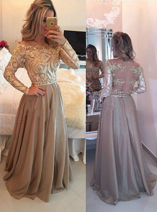 0ad442da05 Hot Selling Luxurious Cowl Floor Length Gold Evening Dress