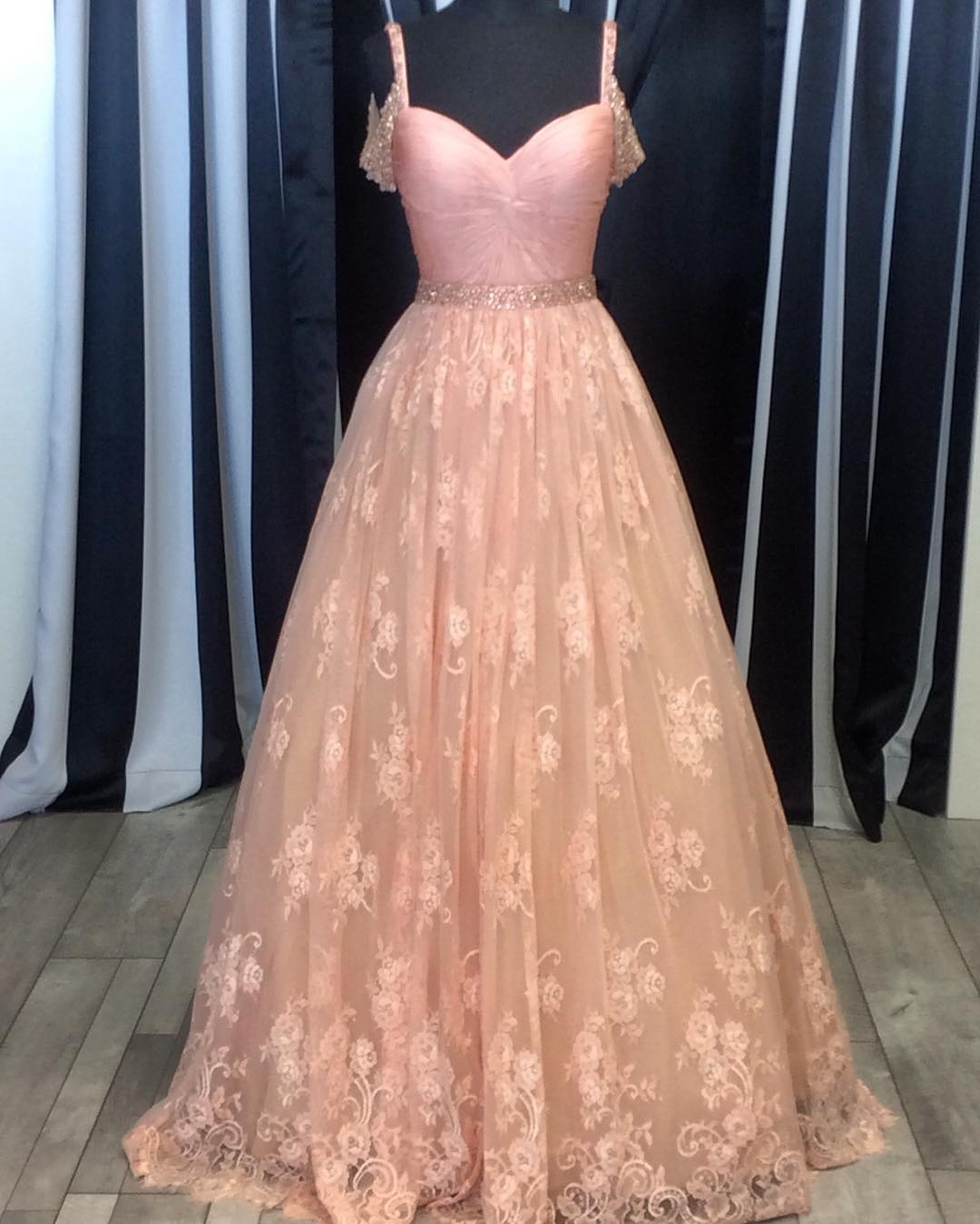 Bush Pink Lace Ball Gowns Prom Dress 2017, Lace Prom Dress, Vestido ...