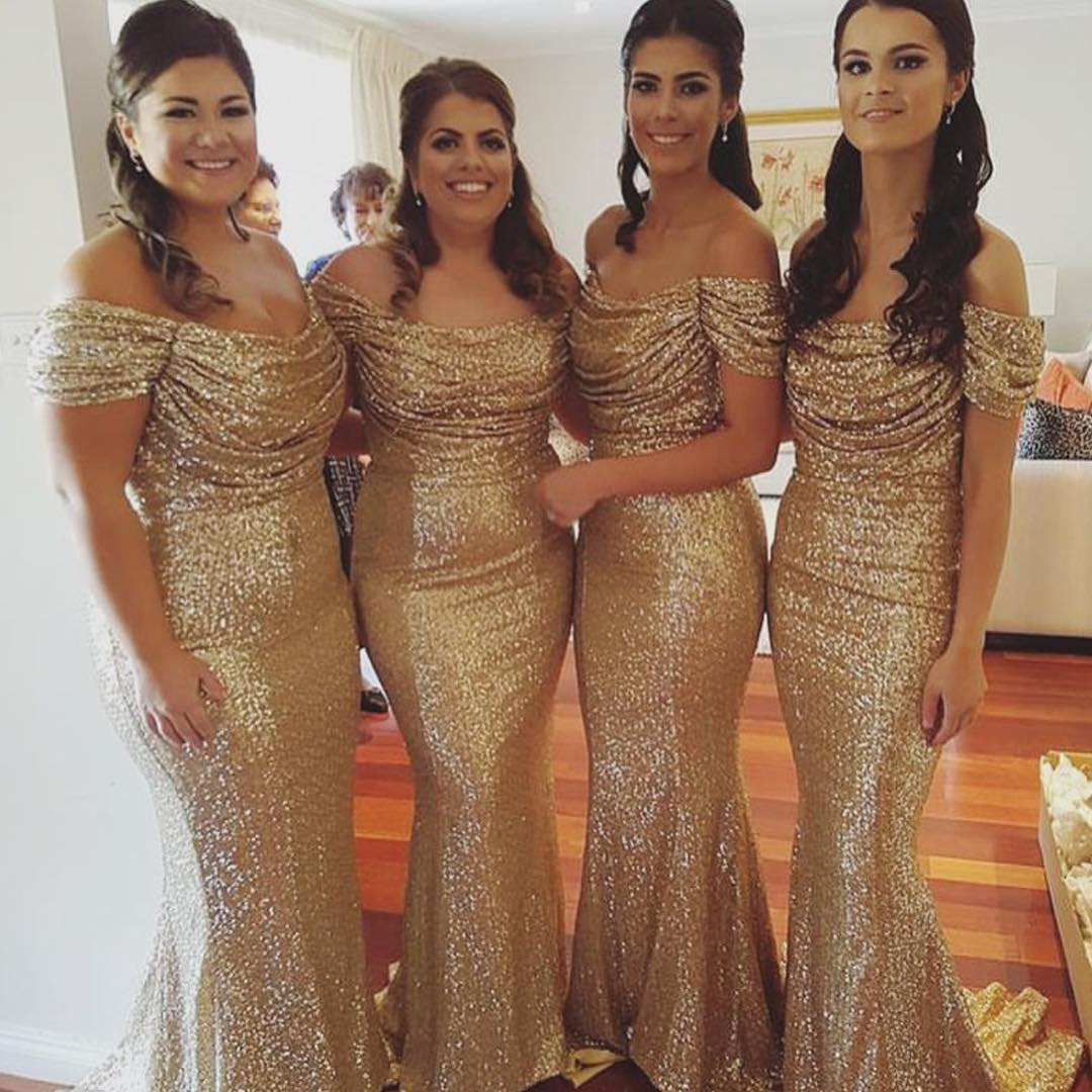6794ea75c89 Gold Sequin Bridesmaid Dresses