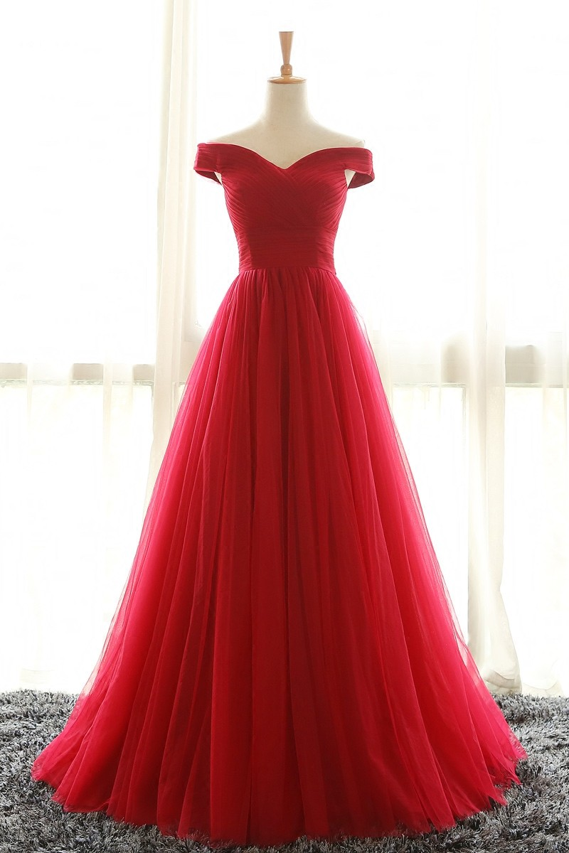 5b4eeaa50b Full Length Off Shoulder Sleeves Red Bridesmaid Dresses, Tulle Prom Dress, Long  Prom Dress