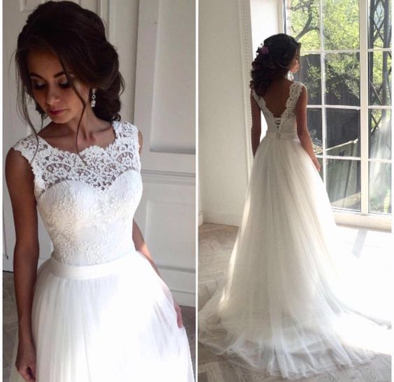 Illusion Neckline Wedding Dress Lace And Tulle Future Delicate V Back Gown Bridal Formal