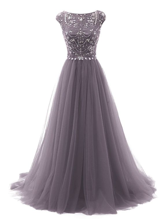 Long Beads Prom Dress Tulle Cap Sleeves Evening Dress