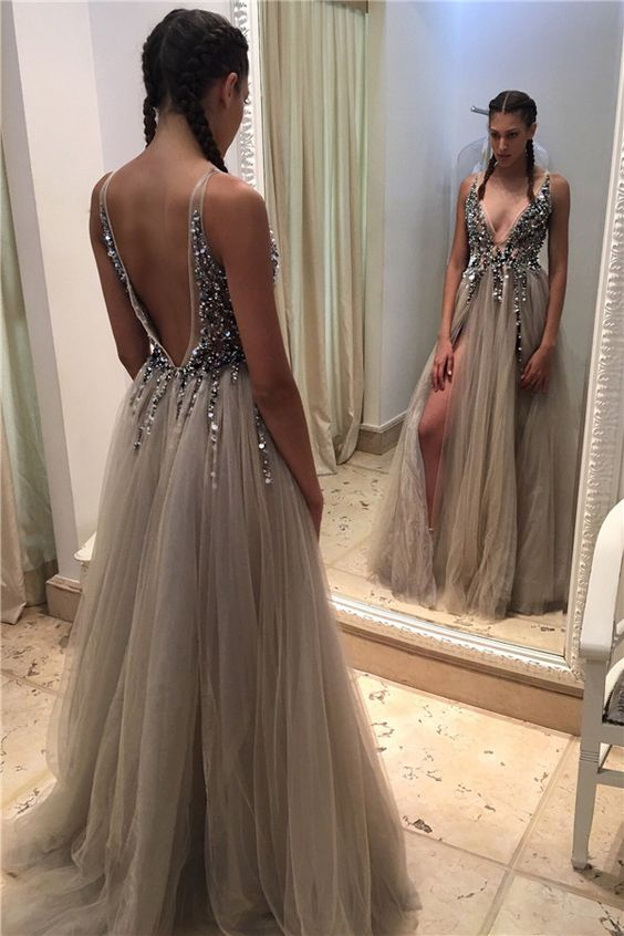 491daf1c308 2017 Deep-V-neck Prom Dresses