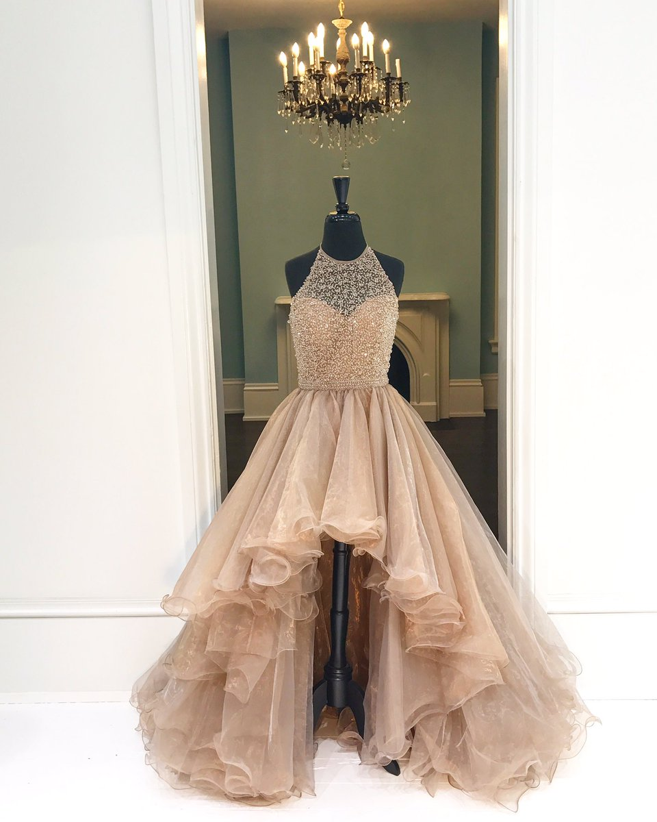 87d14a3f2a2 Champagne Organza Halter High Low A-line Long Dress