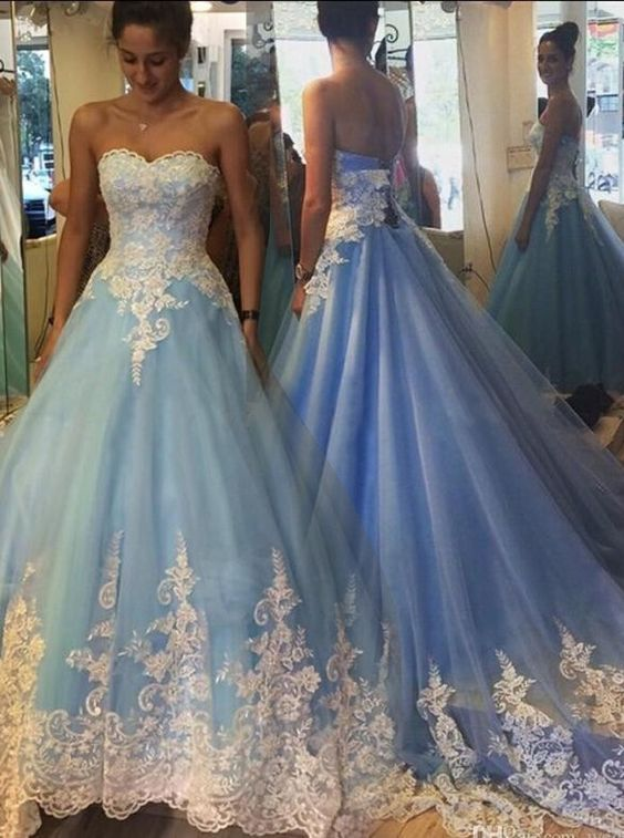 802b17146df 2017 Blue Cinderella Wedding Dresses