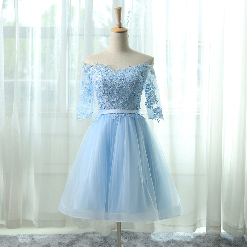 66c2158a446 Off-the-shoulder Lace Applique Short Homecoming Dress In Light Blue ...