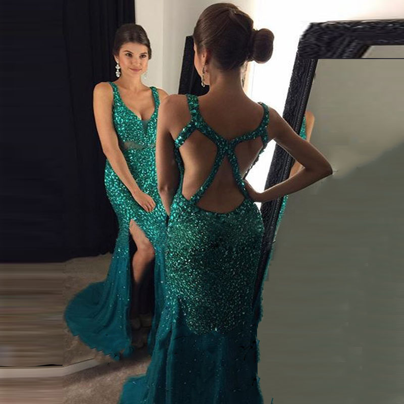 Black Girl Prom Dress 2017, Beading Emerald Green Prom Dress, Backless Prom Dress, Long Prom Dress, Sexy Mermaid Side Split Gold Evening Party Gown, Vestido Longo