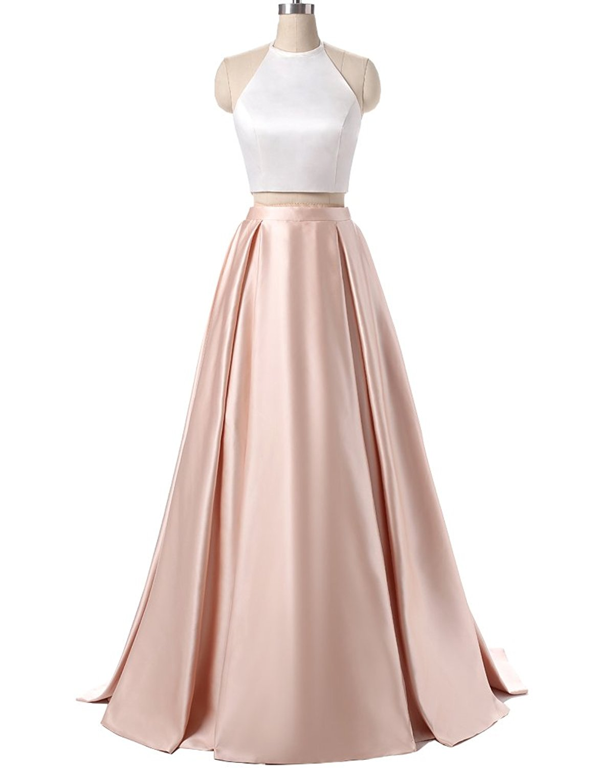 Charming Formal Halter Two Pieces Prom Dress, Party Gowns With ...