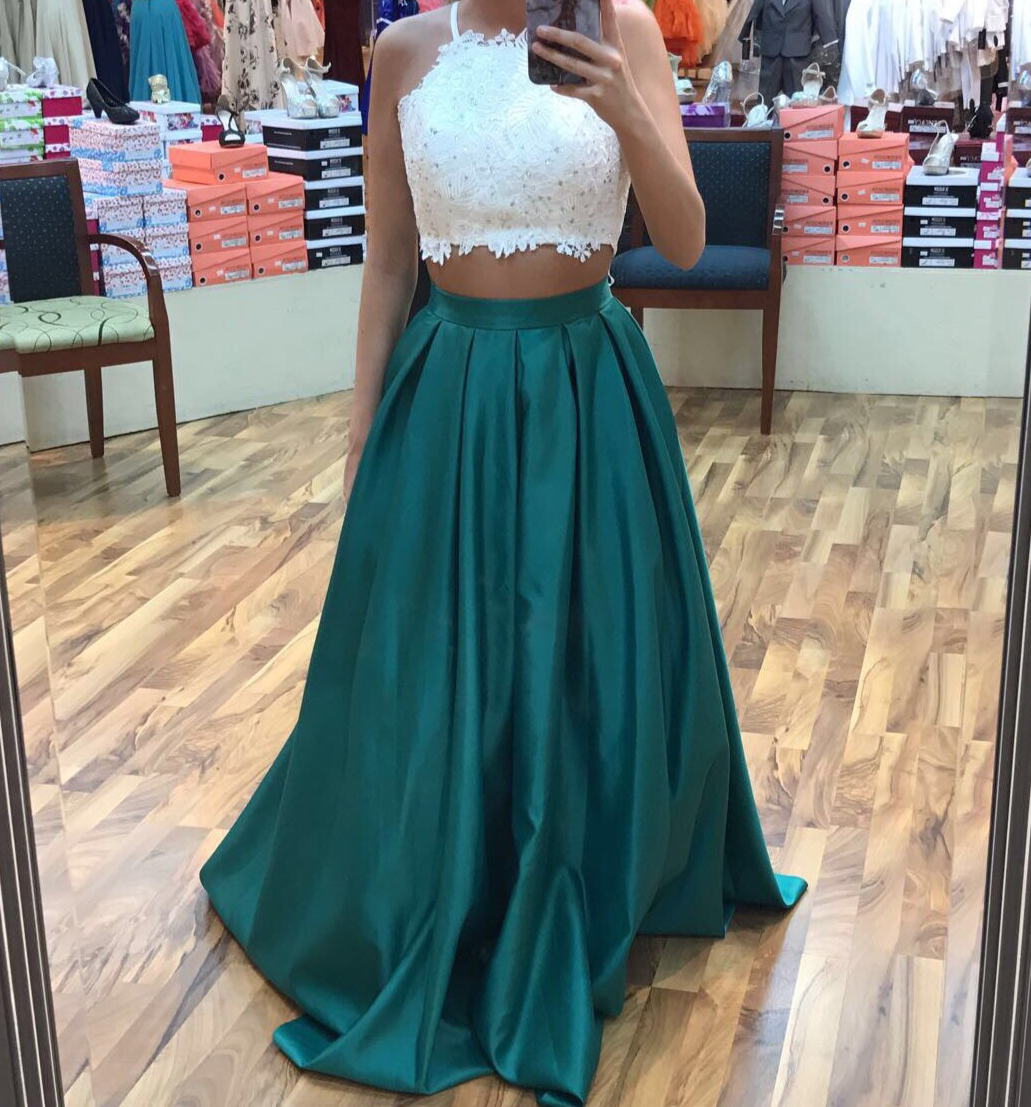 Dark Green Prom Dress, Two Piece Prom Dresses 2017, Two Pieces ...
