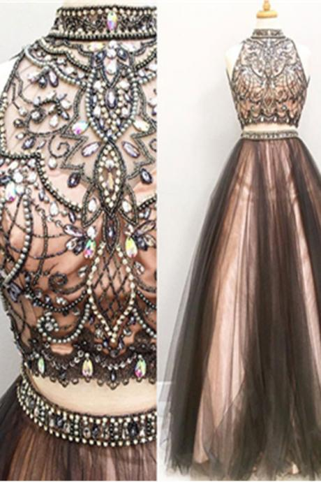 Two Pieces Prom Dresses,Halter Beading Evening Dresses,A-line Tulle Prom Gowns,Beautiful Party Dresses,Cute Dresses, Prom Dress for Teens, Senior Prom Dresses
