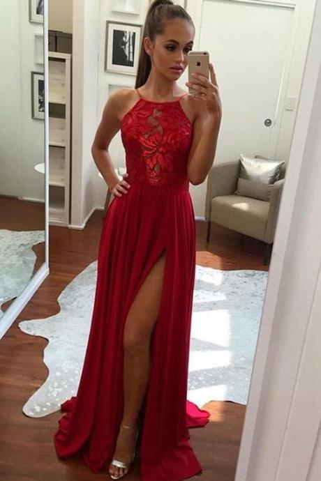Unique Prom Dress, A-Line Halter Prom Dresses, Sexy Split Prom Dresses, Red Chiffon Long Prom, Evening Dress