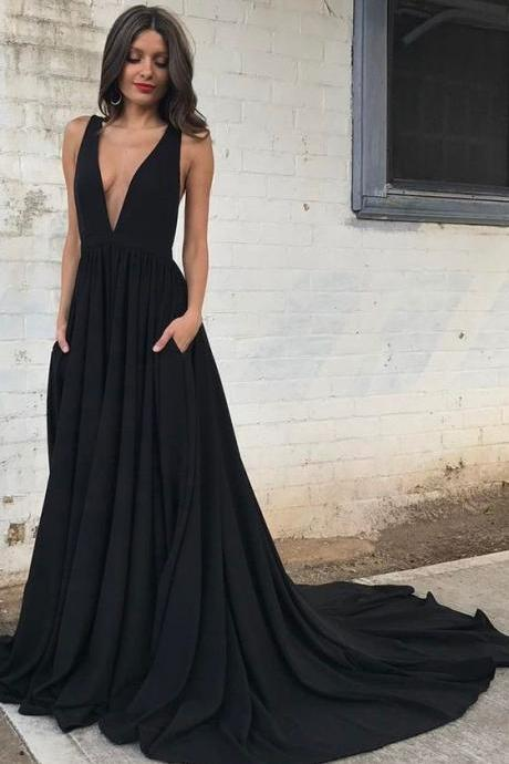 Prom Dresses 2017, Sexy Black Prom Dresses, Long Prom Party Dresses, Elegant Deep V-neck Evening Dresses, Backless Fashion Dresses with Train