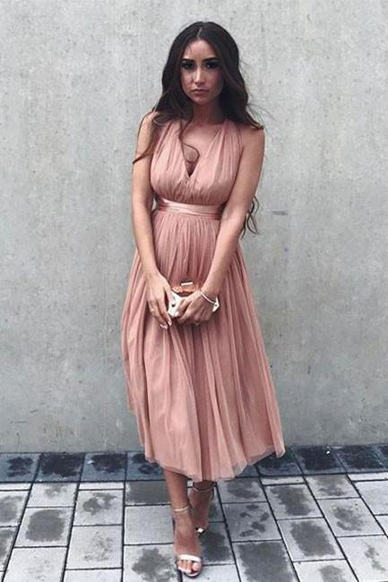 Simple Homecoming Dresses, Pink Homecoming Dress, A-Line V-Neck Criss-Cross Straps Tulle Tea-Length Prom Dress, Blush Prom Dress, Sexy Prom Dress, Short Party Dress