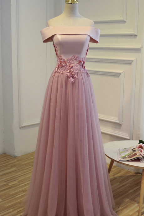 Charming Prom Dress,Tulle Prom Dress,Appliques Prom Dress,Off the Shoulder Prom Dress, Long Party Prom Dress 2017, Women Formal Prom Gown Dresses