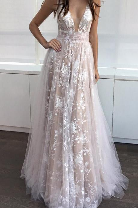 A-Line Deep V-Neck Floor-length Sleeveless Champagne Tulle Prom Dress, Sexy Backless Prom Dress, Charming Lace Prom Dress, Dress for Prom, Woman Evening Dress