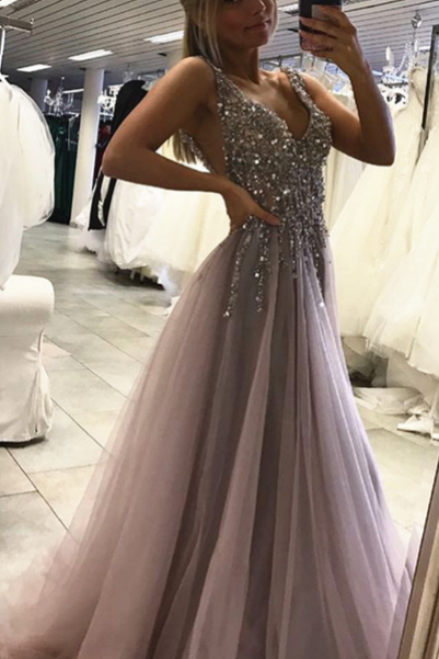 Sexy Side Split Prom Dress,Sleeveless Tulle Evening Dress,Long Party Dress, Senior Prom Dress, Prom Dress for Teens