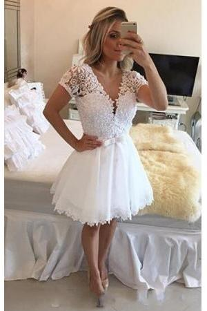 2017 White Short Homecoming Dresses, Short Sleeves V Neck Lace Beaded Top Graduation Dresses, White Homecoming Dresses, Short Party Dress, Short Prom Dress