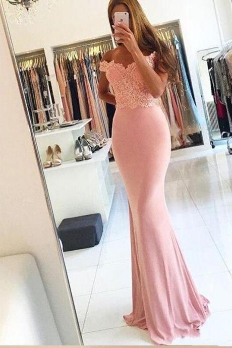 Vestido de festa, Sexy Off The Shoulder Lace Pink Mermaid Prom Dresses 2017, Charming Prom Dresses, Woman Formal Dress, Abendkleider Modern Evening Dress For Party