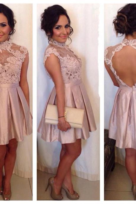 Lovely Homecoming Dresses, Short Homecoming Gown, 2017 High Neck Cocktail Dresses, Lace Appliques Short Homecoming Dress. Graduation Dresses, Short Party Dress