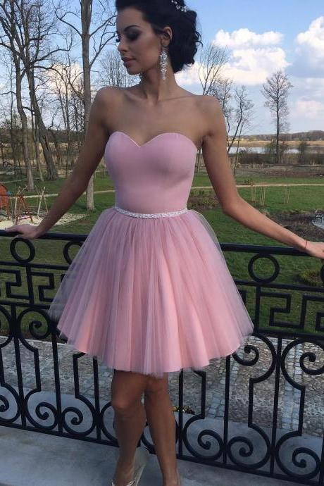 Cute Tulle Homecoming Dresses, Dusty Pink Homecoming Dress, Short Prom Dresses, Short Homecoming Dresses, Prom Party Dress