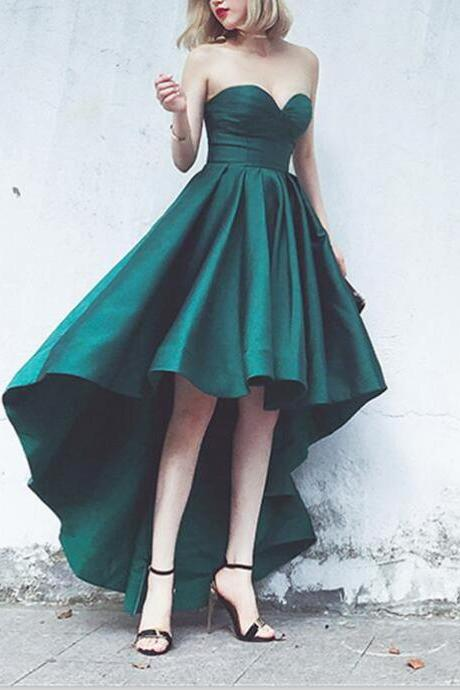 Sweetheart High Low Homecoming Dresses, Dark Green Short Prom Dress, Hight Low Prom Dresses, Special Homecoming Dress, Junior Prom Dress