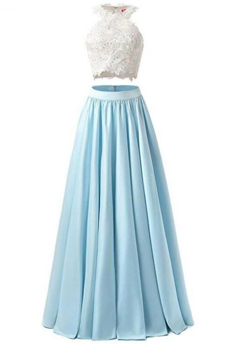 Two Pieces Prom Dress, Lace Appliques Prom Gown, Satin Lace Evening Dress, Long Homecoming Dress, Baby Blue Prom Dress, Two-piece Prom Dresses
