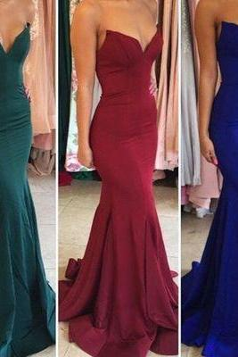 Charming Prom Dresses, Burgundy Prom Dress, Green Prom Dresses, Royal Blue Prom Dresses, Strapless Long Prom Dress, 2017 Mermaid Long Prom Dress, Formal Evening Dress, Bridesmaid Dress