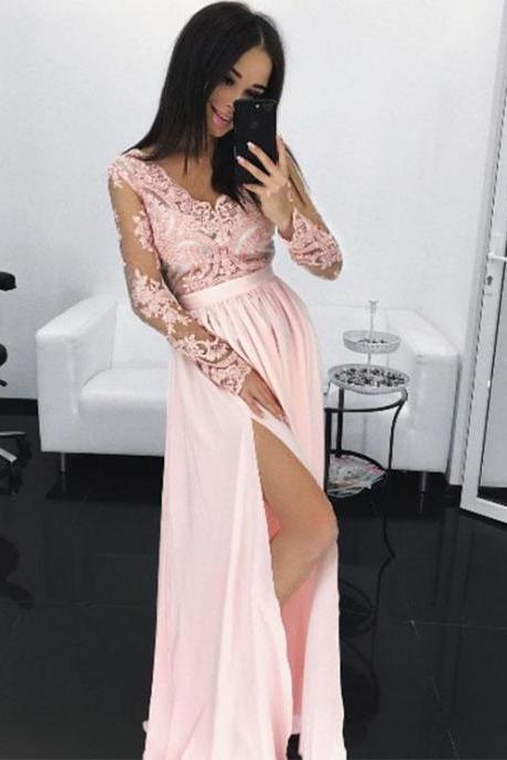 Pink Lace Chiffon Long Prom Dress, Long Sleeve Evening Dress, Sexy V Neck Prom Dress, Lace Sheer Prom Dress, See Through Prom Dress, Woman Dresses for Prom