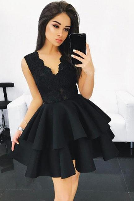 Black V Neck Lace Short Prom Dress, Short Prom Dresses, Short Evening Dress, Black Homecoming Dress, Short Homecoming Party Gown, Party Dresses